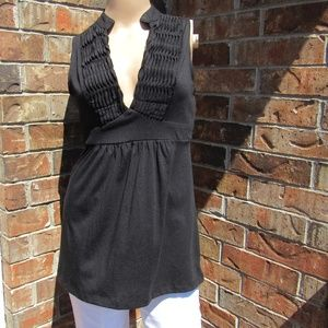 6 Degrees Plunging V-Neck Pleated Tie Back Blouse